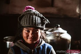 Portrait of local girl, Upper Mustang region, Nepal