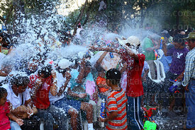 Shaving foam fight among spectators at carnival, Tarija, Bolivia
