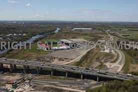 Barton Bridge looking towards the new Port Salford Development Liverpool Road Eccles and the construction of the new Lifting Bridge crossing the Manchester Ship Canal