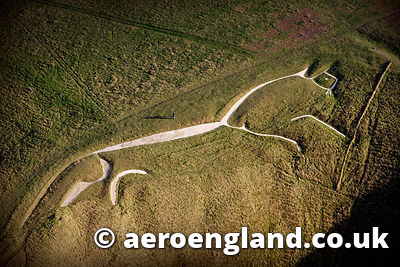 aerial photographs of the Uffington White Horse geoglyph  , Oxfordshire England UK