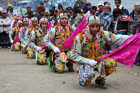 Contradanza dancers performing in front of Sanctuary during Qoyllur Riti festival, Peru