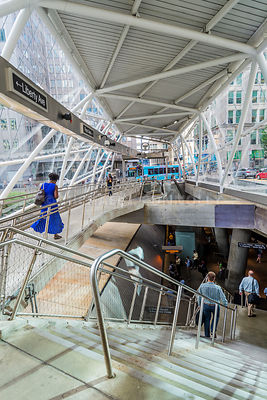 Vertical Photo of Street Level Interior in Gateway Center T Station