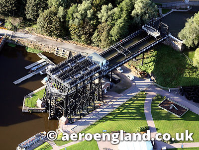 aerial photograph of the Anderton Boat Lift , Northwich   Cheshire England UK