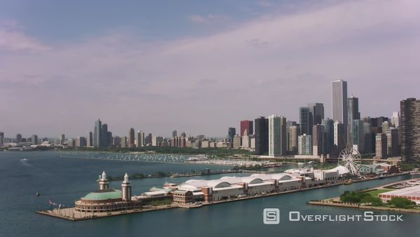 Chicago, Illinois Aerial shot of Navy Pier and downtown Chicago.  Shot with Cineflex and RED EpicW Helium.