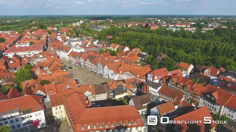 Aerial view of Celle skyline and homes at sunset, Germany