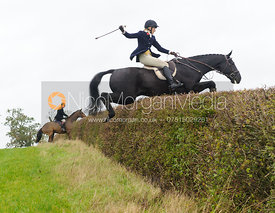 Katie Barber jumping a big hedge in Twyford - Quorn at Barrowcliffe 1-11-13