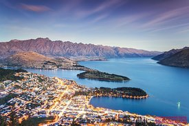 Iconic view of Queenstown at dusk, New Zealand