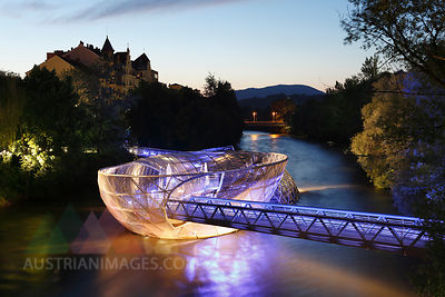 Austria, Styria, Graz, View of Murinsel at River Mur