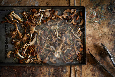 Beautiful roasted mushrooms on a tray with roasted thyme on a heavily textured, warm brown surface.