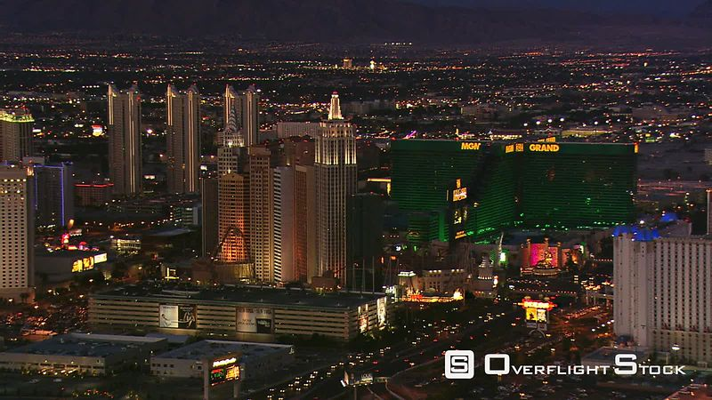 Flying past The Strip near Tropicana Avenue in Las Vegas at nightfall.