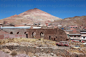 Cerro Rico and remains of aqueduct (part of old mining ingenio), Potosí, Bolivia
