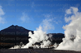 Tourists visiting the El Tatio geyser field, Region II, Chile