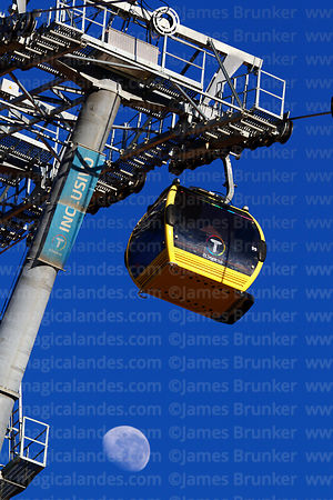 Almost last quarter waning moon and Yellow Line cable car gondola and pylon, La Paz, Bolivia
