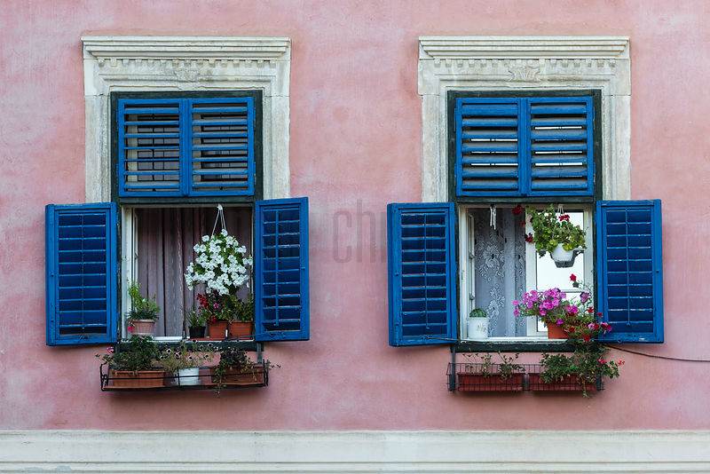 Blue Shutters and a Pink Wall