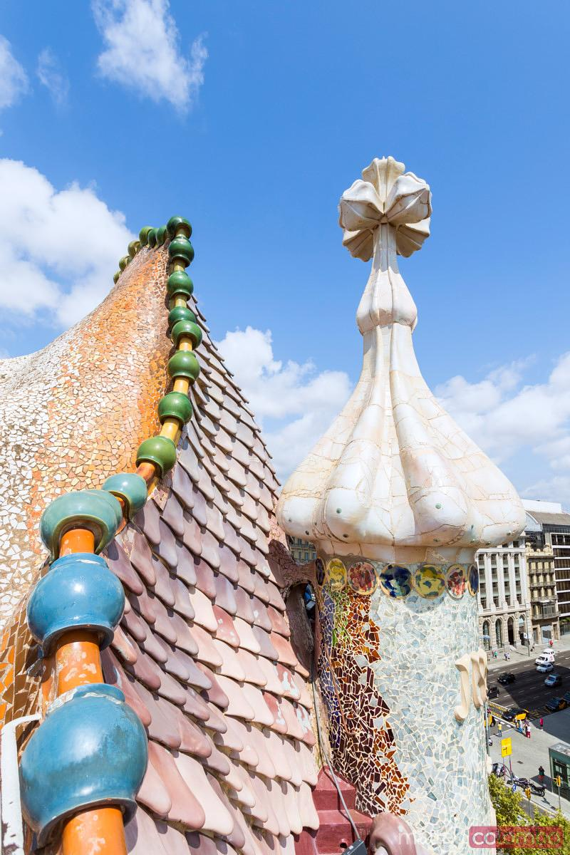 Dragon shaped roof of Casa Battlo, Barcelona, Spain