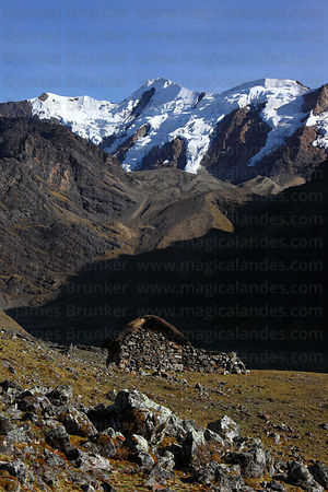 Traditional thatched dry stone hut, Cordillera Apolobamba , Bolivia