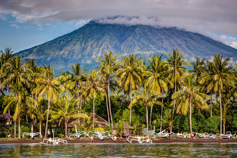 Gunung Agung from the water.  Tulamben, Bali, Indonesia