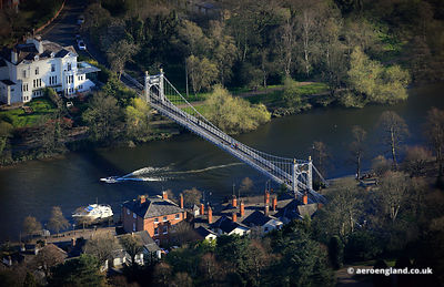 aerial photograph of Queens Park suspension bridge Chester