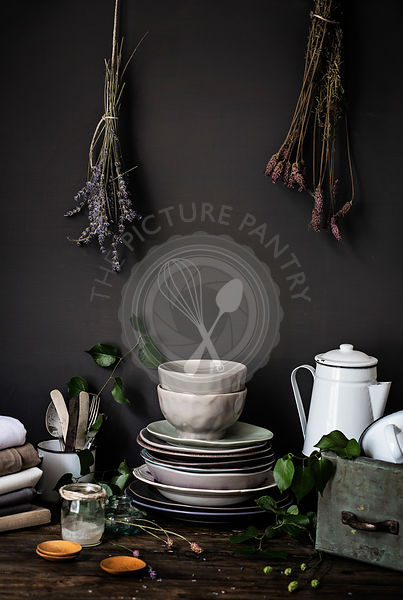 Vintage food props over an old wooden table