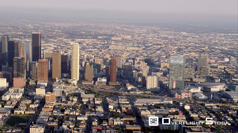 Aerial Ws View Of Downtown Los Angeles, RED R3D 4k California