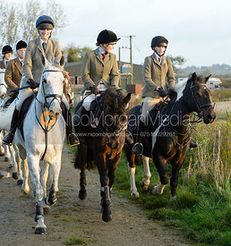 Isobel McEuen, Hermione Brooksbank leaving the meet - The Cottesmore Hunt at the kennels 21/10