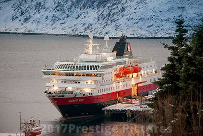 "Hurtigruten ship ""Richard With""  in Honningsvåg Norway"