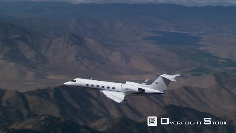 Air-to-air view of oncoming executive jet