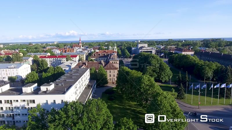 Panoramic aerial view of city skyline at dusk. The city is a major attraction in Parnu Estonia