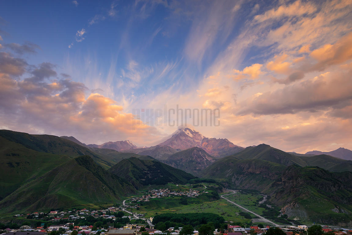 Elevated View of Mt Kazbegi from The Rooms Hotel