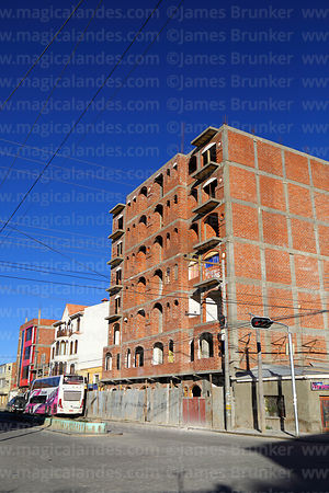 New brick building under construction, Uyuni, Bolivia