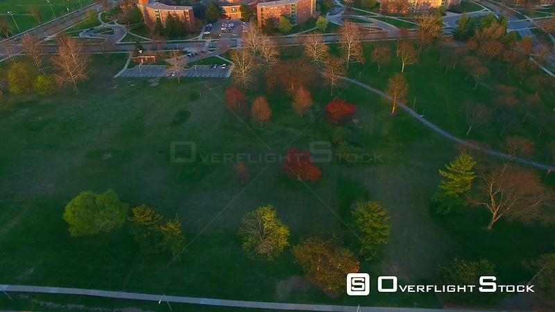 Drone Video of Michigan State University at East Lansing. Wonders and Wilson Halls and Spartan Stadium