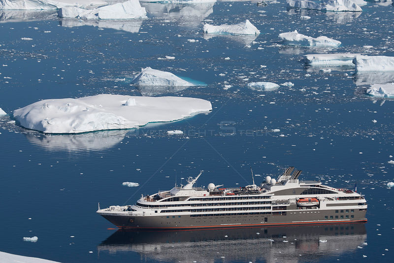 High angle view of  'Le Boreal' passenger vessel, from vantage point at Port Charcot, Booth Island, Antarctic Peninsula. February 2012.