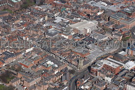 Chester aerial photograph  looking from the corner of bnridge Street and Pepper street towards Eastgate Street