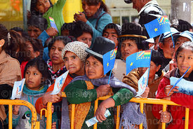 Members of the public watch the parades for Dia del Mar / Day of the Sea, Plaza Avaroa, La Paz , Bolivia