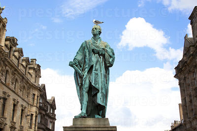 Statue of WIlliam Pitt the younger with a Seagull Perched on his head