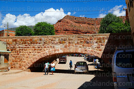 Old stone bridge with low arch near market, Camargo, Camargo, Chuquisaca Department, Bolivia