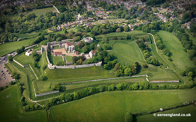 aerial photograph of Carisbrooke Castle Isle of Wight England UK