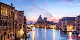 Panoramic of Grand Canal with Salute church, Venice, Italy