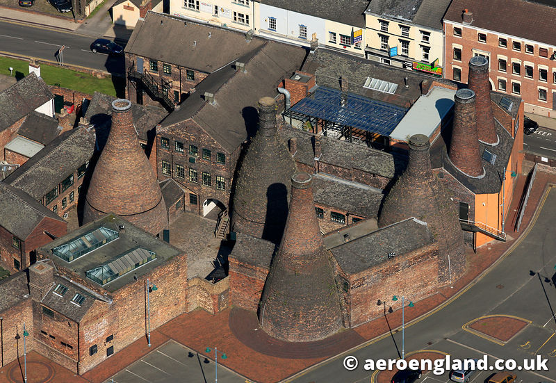 The Potteries - aerial photograph of  the Gladstone Pottery Museum Stoke on Trent  Staffordshire England UK