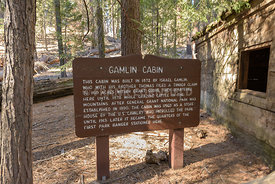 Information sign at the Historic Gamlin Cabin in Sequoia National Park.