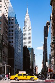 Yellow cab and Chrysler building, New York city, USA