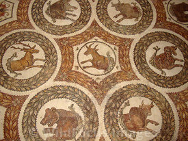 Roman Mosaic depicting various animals, Bardo Museum, Tunisia, Landscape