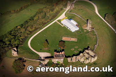 aerial photograph of Tutbury Castle Staffordshire England UK
