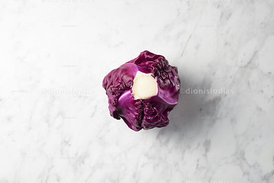Purple cabbage seen from top to  marble background