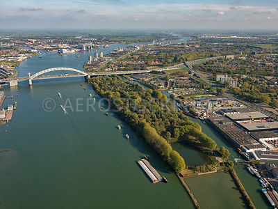Rotterdam, Island of Brienenoord, the Brienoordbrug, the Nieuwe Maas looking towards Krimpen aan de IJssel.