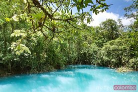 Rio Celeste river in the green forest of  Costa Rica