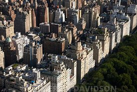 Aerial of budilings facing Central Park from the east side