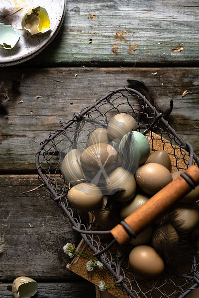 Pheasant Eggs on a rustic wooden table