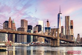 Brooklyn bridge and skyline at sunrise, New York, USA