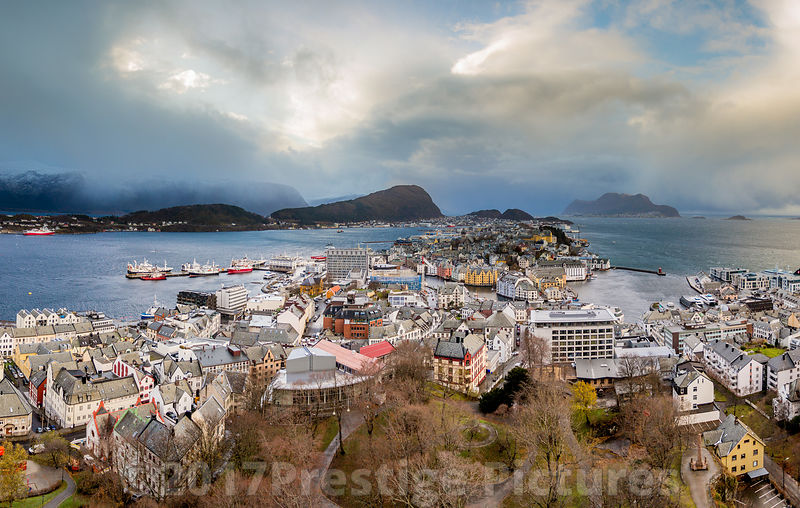 The Port Town of Ålesund in Norway - Stock photo Ålesund